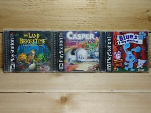 PS1 Retro Game Lot Land Before Time + Casper + Blue's Big Musical Tested