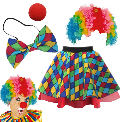 Women/'s CLOWN Costume Skirt or BOW TIE Halloween FANCY DRESS Jester Circus