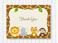 Cute Jungle Safari Animals Gender Neutral Thank You Card Printable
