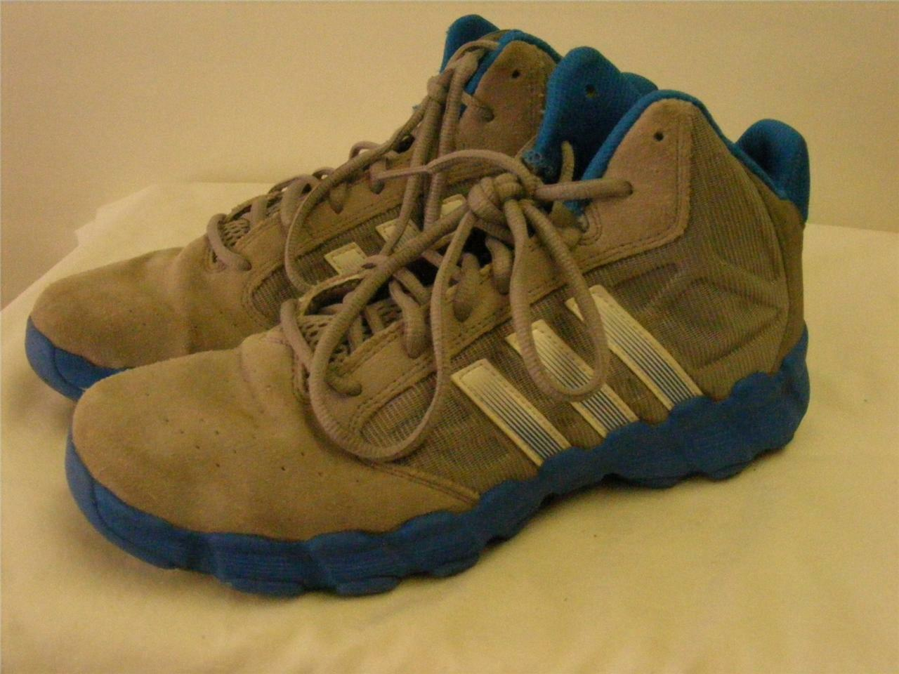 mens ADIDAS leather blue gray lightweight hi top basketball shoes 7 CLEAN Cheap and beautiful fashion