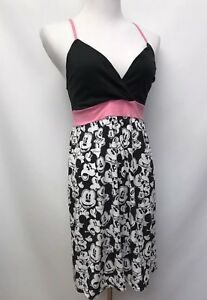 Disneyland Resort Walt Disney World Womens Size S Dress Mickey Black White Pink