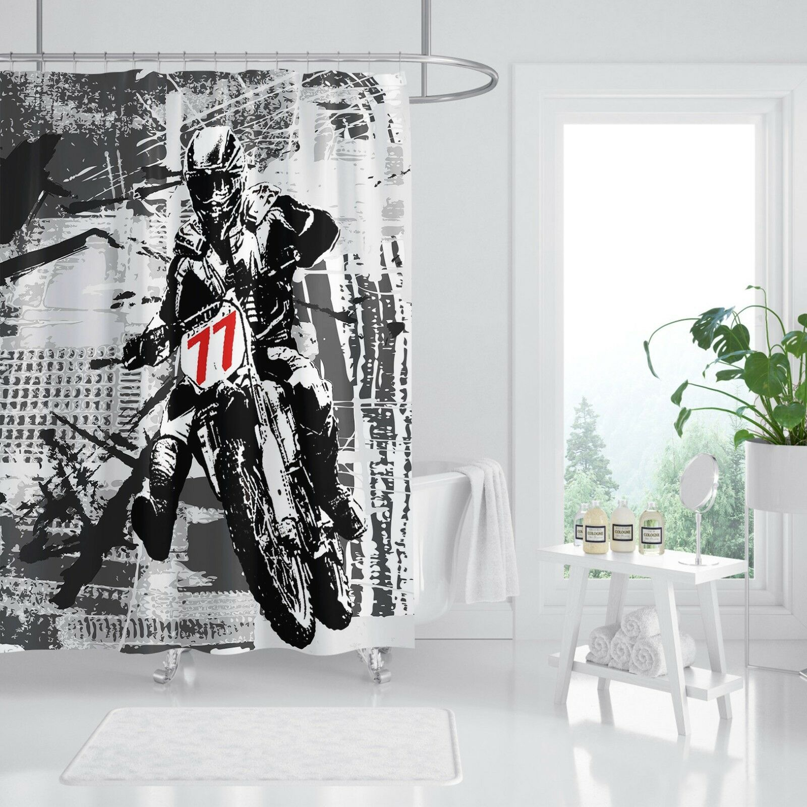 3D Motorrad Mann 2 Duschvorhang Wasserdicht Faser Bad Daheim Windows Toilette DE