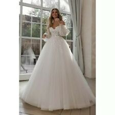 Off the shoulders long puffy sleeves wedding dress princess bohemian bridal gown