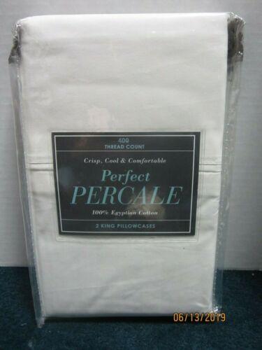 Bed Bath /& Beyond 400 TC White Percale 2 King Pillowcases 100/% Egyptian Cotton