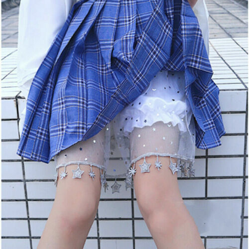 Lady Girl Lolita Ruffle Shorts Bloomers Skirt Underwear Petticoat Mesh Star Chic