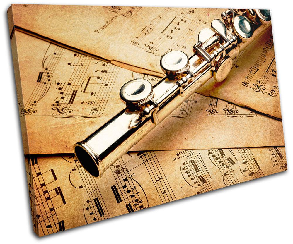 Flute vintage Musical SINGLE TOILE murale ART Photo Print