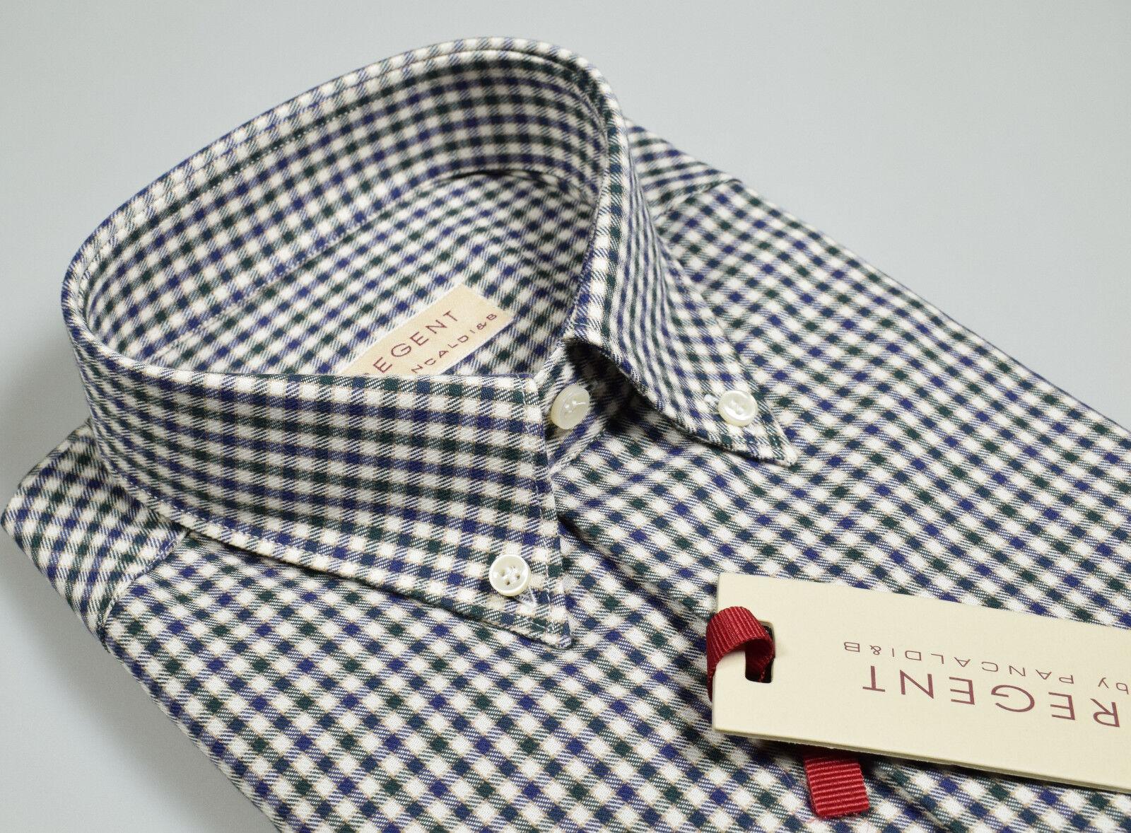 Camicia in Flanella rasata Pancaldi Button Down Regular Fit Quadretti Blau Grün