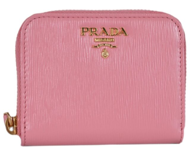 2f25cd40f98f New Prada Women's 1MM268 Pink Saffiano Leather Zip Around Coin Purse Wallet