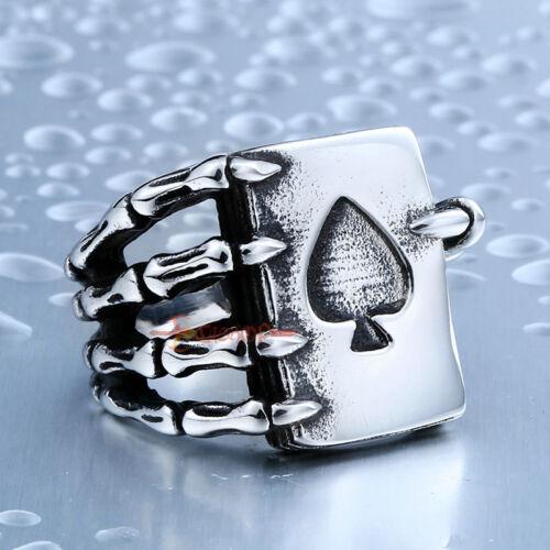 Para Hombre 316 L Acero Inoxidable Ace of Spades Tarjeta de Poker Cráneo Anillo de garras Suerte De Plata