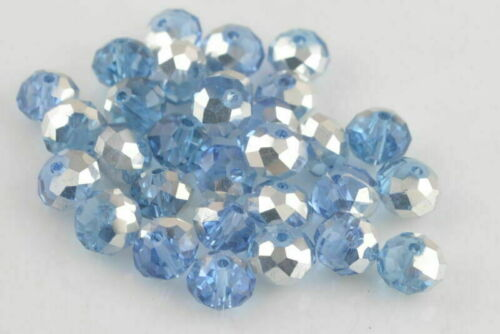 8x6mm 50Ps Charms Faceted Glass Beads Spacer Rondelle Necklace Bracelet Findings