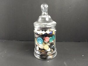 Vintage-Button-Jar-Lot-Apothecary-Jar-Mixed-Lot-Buttons-Sewing-Glass
