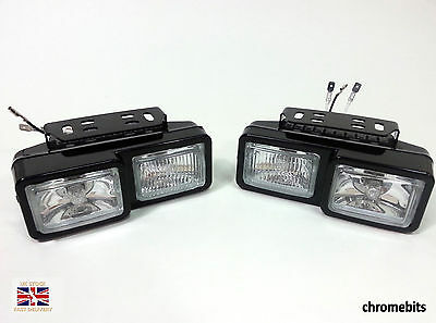2X FRONT DOUBLE HALOGEN SPOT FOG LIGHTS 12V LAMPS FOR CAR VAN BUS TRUCK H3 55W