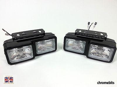 2X FRONT DOUBLE HALOGEN SPOT FOG LIGHTS 12V LAMPS FOR CAR VAN BUS TRUCK H3 55W