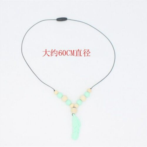 DIY Food grade Silicone Feather Teether Baby Chew Teething Beading Necklace