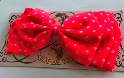 1960/'s Large Fabric Pink Polka Dot Glamour Bow Vintage Hair Barrettes