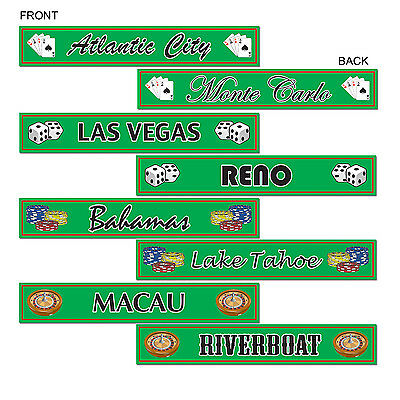 8 Vegas Style Street Signs Printed Cutouts - Casino Party Decorations