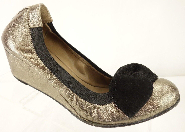 ANYI LU Italian Leather gold-Tone Ballet Wedge Heel shoes Women's 5 (36)