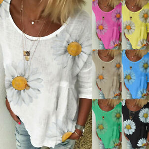 Women-Casual-Plus-Size-Loose-Sunflower-Tunic-Shirt-Short-Sleeve-Blouse-Tops-Ceng