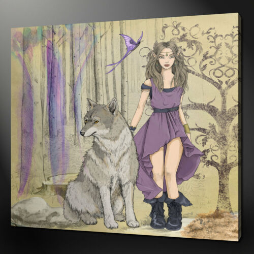 WOLF AND ELF CANVAS WALL ART PICTURE PRINT VARIETY OF SIZES FREE UK P/&P