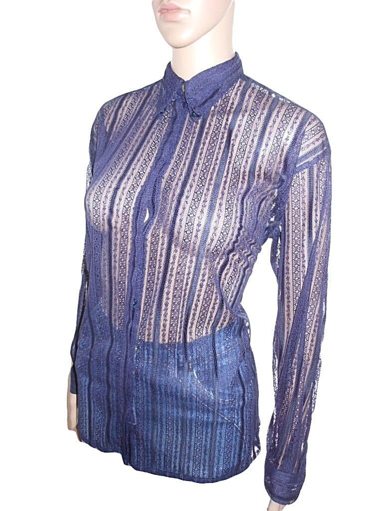 VERSACE Woman Vtg 90s Blau Lace Fashion Design Long Sleeve Blouse Shirt sz M Y54