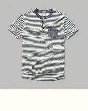 Men's ABERCROMBIE ~North Shore~ Short Sleeve Striped Henley Tee Shirt X-Large/XL