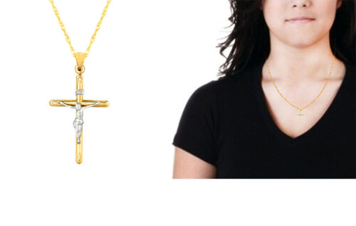 "14 Karat INRI Crucifix Tubular Cross Necklace 18/"" Inch 1 1//2/"" Yellow Gold"
