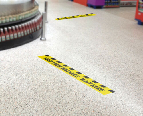 Anti-slip Shop Office Floor Window Pack of 5 400mm Social distancing Stickers