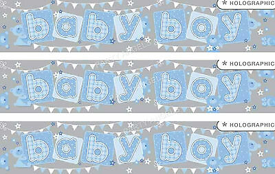 BABY BOY GIANT FOIL WALL BANNERS, BABY SHOWER/ NEW BABY DECORATIONS (EW)