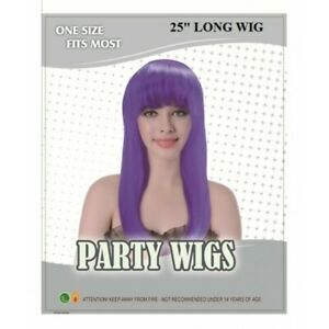Ladies-25-034-LONG-PURPLE-Wig-Straight-Fringe-Fancy-Dress-Cos-Play-Party-NEW