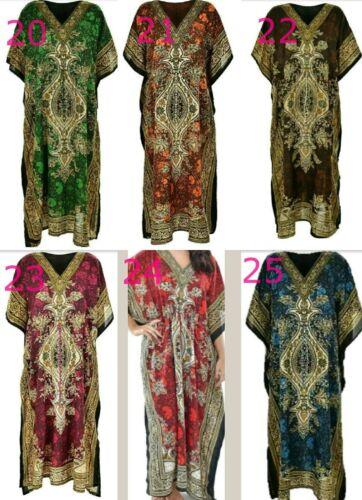 New Pack Of 1-3-5 Women/'s Floral Print Long Kaftan Dress African Style Ladies