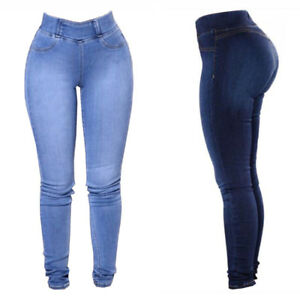 Women-Stretchy-Skinny-Denim-Jeans-Slim-Jeggings-High-Waist-Pencil-Pants-Trousers