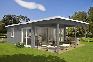Details zu Gartenhaus und Freizeithaus Carroz-Modern 70 Holz 598x598+300 cm  70 mm Pultdach