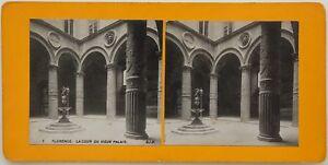 Florence La Cour Del Vecchio Palais Italia Foto Stereo Vintage Analogica c1900