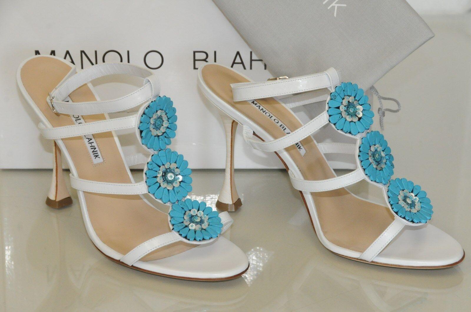 Neu Manolo Blahnik Zionita Weiß-türkis Perlenbesetzte Sandalen Schuhe 36.5 39 40