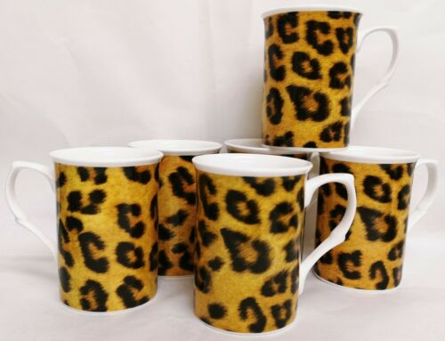 Leopard Brown Mugs Set of 6 Fine Bone China Animal Print Cups Hand Decorated UK