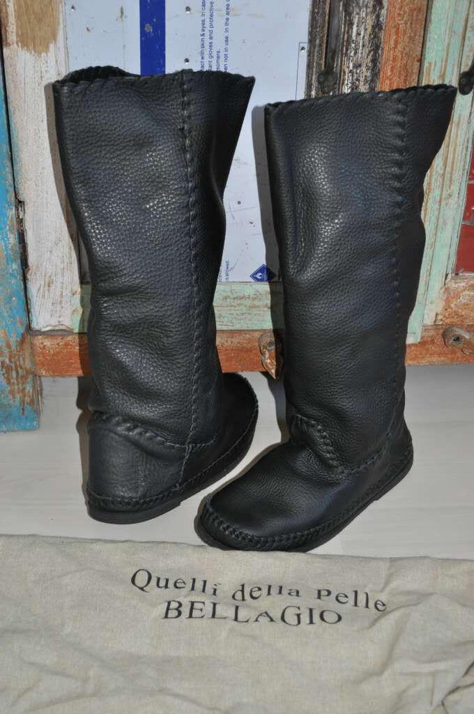 Italienische Damen Stiefel Leder handgefertigt Gr. schwarz 39 Weitschaft neuw. schwarz Gr. d16f33