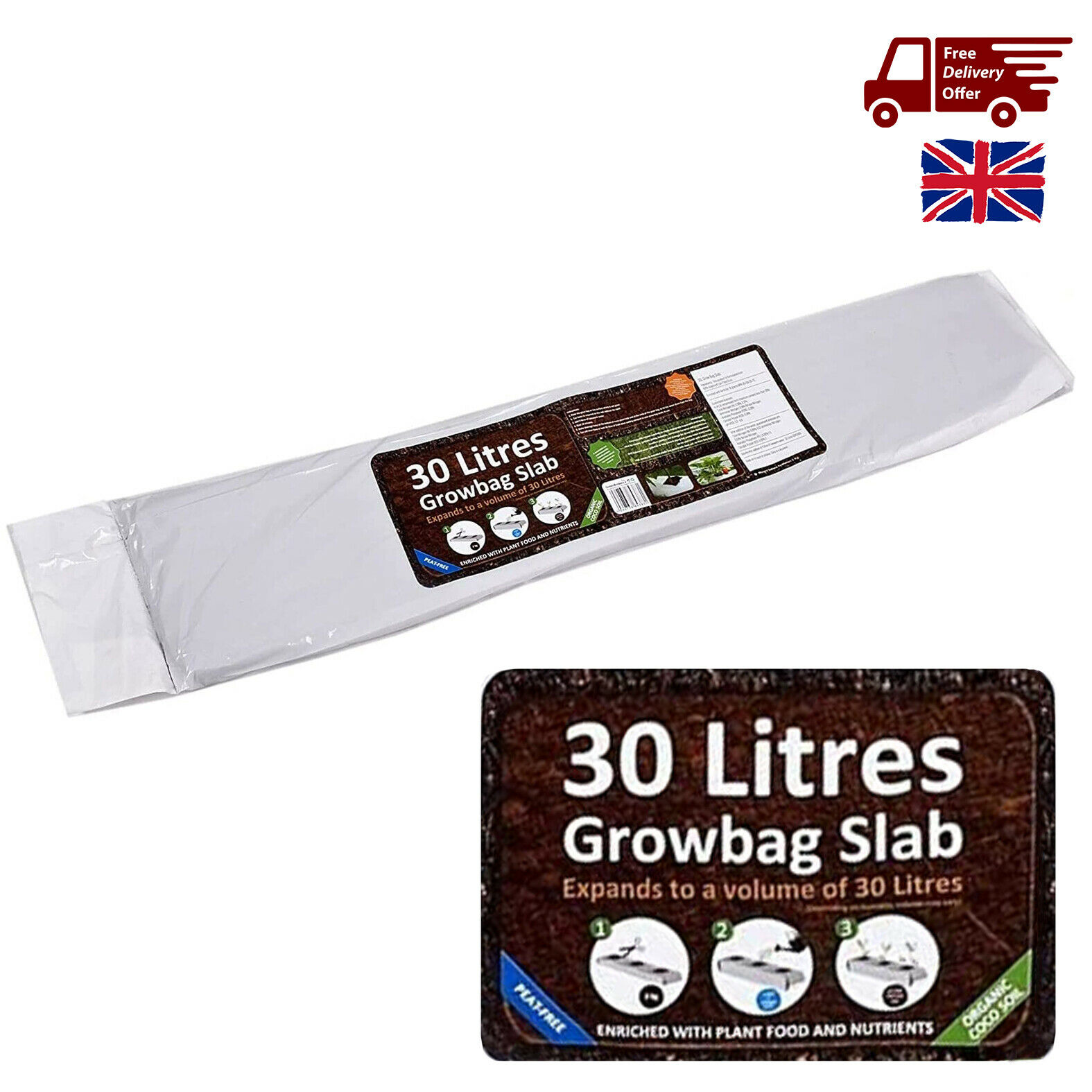 30L Organic Growbag Slab Compost Potting Soil Peat Free Expanded Holes Outdoor