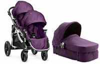 Baby Jogger City Select Twin Double Stroller Amethyst W/ Second Seat & Bassinet