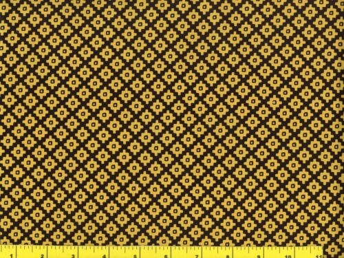 Mary Fons Dark Yellow Diamonds on Black Quilting /& Sewing Fabric by Yard  #703