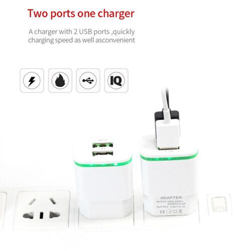 US Enchufe de la UE Cargador USB de 2 puertos de luz LED 5V 2A Adaptador para iPhone Samsung TEUS