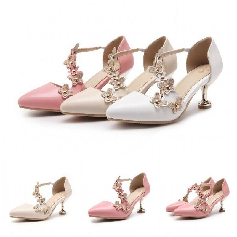 Sweet Womens Pointy toe Strappy Flower Decro Spring Casual Kittle heel Party NW