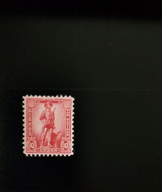 1954 10c War Saving Stamp - Minute Man, Rose Red Scott