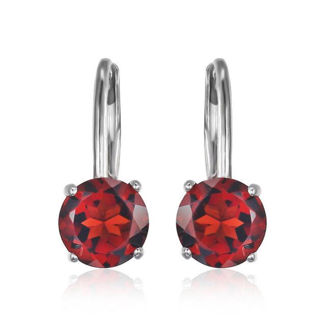 2ct Beautiful Genuine Garnet Round Dangle Earrings Sterling Silver