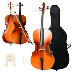 New 4/4 Size Handcrafted Basswood Natural Cello +Bag+ Bow+ Rosin + Bridge