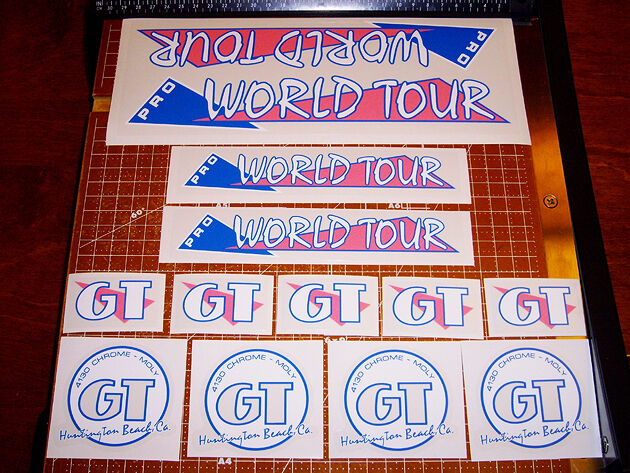 1986 GT  BMX Pro World Tour, restoration decals on clear PINK BOLD, Ozone  sale outlet