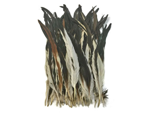 """10 Feathers 16-18/"""" Natural Brown Mix Coque Tail Strung Feathers DIY Craft"""