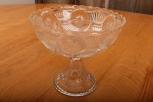 Vintage-Glass-Compote-With-Flower-and-Trumpet-Pattern-Candy-Dish