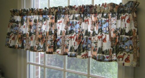 WINTER WONDERLAND ANIMALS VALANCE SQUIRRELS BUNNYS OWLS DEER RACCOONS /& FOXES