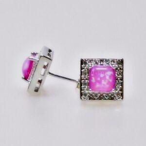 Schoene-Pink-Cabochon-Feueropal-Zirkonia-Ohrstecker-925er-rhodiniert-11-x-11-mm