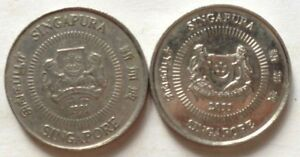 Singapore 2 pcs (1991 & 2011) 2nd Series 10 cents coin